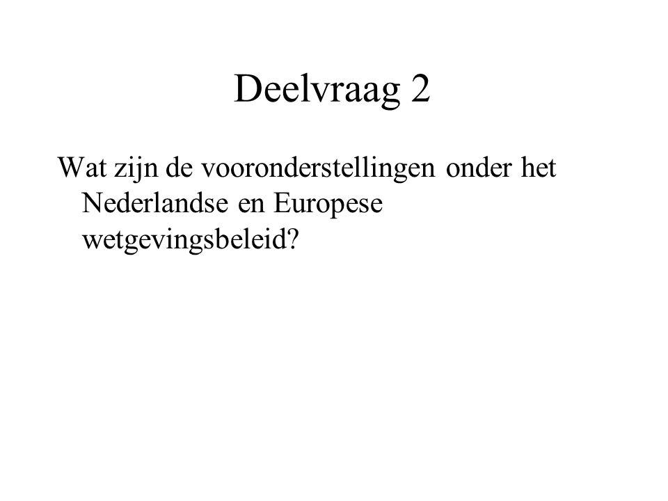 Deelvraag 2 Wat zijn de vooronderstellingen onder het Nederlandse en Europese wetgevingsbeleid?