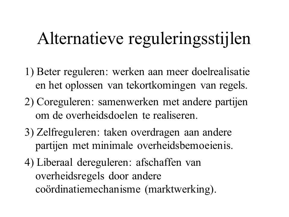 Alternatieve reguleringsstijlen 1) Beter reguleren: werken aan meer doelrealisatie en het oplossen van tekortkomingen van regels. 2) Coreguleren: same