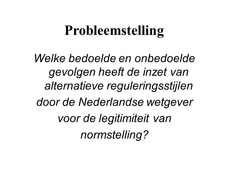 Probleemstelling Welke bedoelde en onbedoelde gevolgen heeft de inzet van alternatieve reguleringsstijlen door de Nederlandse wetgever voor de legitim