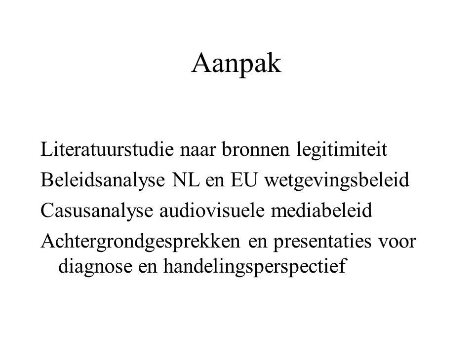 Aanpak Literatuurstudie naar bronnen legitimiteit Beleidsanalyse NL en EU wetgevingsbeleid Casusanalyse audiovisuele mediabeleid Achtergrondgesprekken