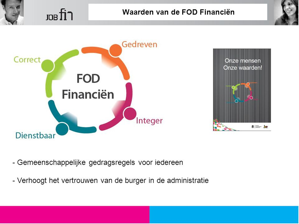 Waarden van de FOD Financiën - Gemeenschappelijke gedragsregels voor iedereen - Verhoogt het vertrouwen van de burger in de administratie