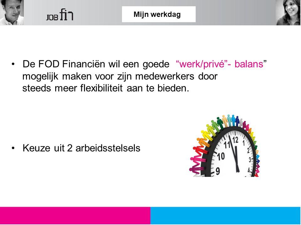 Mijn werkdag De FOD Financiën wil een goede werk/privé - balans mogelijk maken voor zijn medewerkers door steeds meer flexibiliteit aan te bieden.