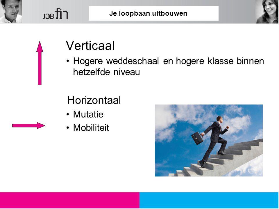 Je loopbaan uitbouwen Verticaal Hogere weddeschaal en hogere klasse binnen hetzelfde niveau Horizontaal Mutatie Mobiliteit