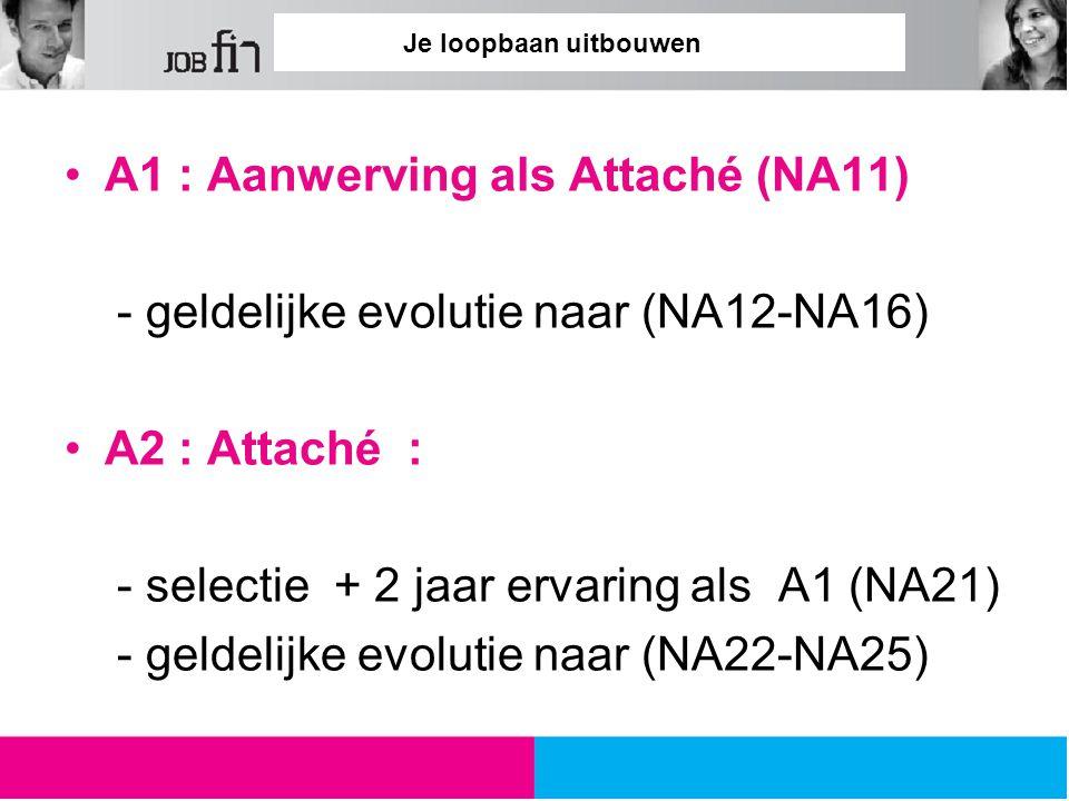 Je loopbaan uitbouwen A1 : Aanwerving als Attaché (NA11) - geldelijke evolutie naar (NA12-NA16) A2 : Attaché : - selectie + 2 jaar ervaring als A1 (NA21) - geldelijke evolutie naar (NA22-NA25)