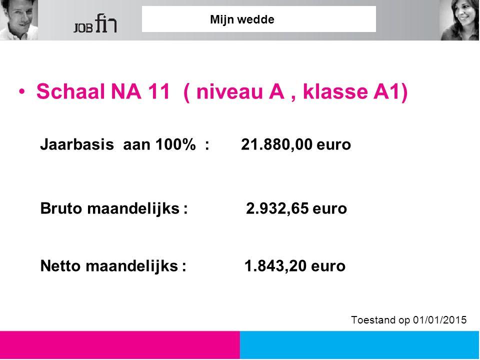 Mijn wedde Schaal NA 11 ( niveau A, klasse A1) Jaarbasis aan 100% : 21.880,00 euro Bruto maandelijks : 2.932,65 euro Netto maandelijks : 1.843,20 euro Toestand op 01/01/2015