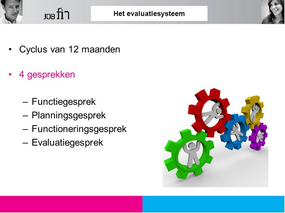Het evaluatiesysteem Cyclus van 12 maanden 4 gesprekken –Functiegesprek –Planningsgesprek –Functioneringsgesprek –Evaluatiegesprek