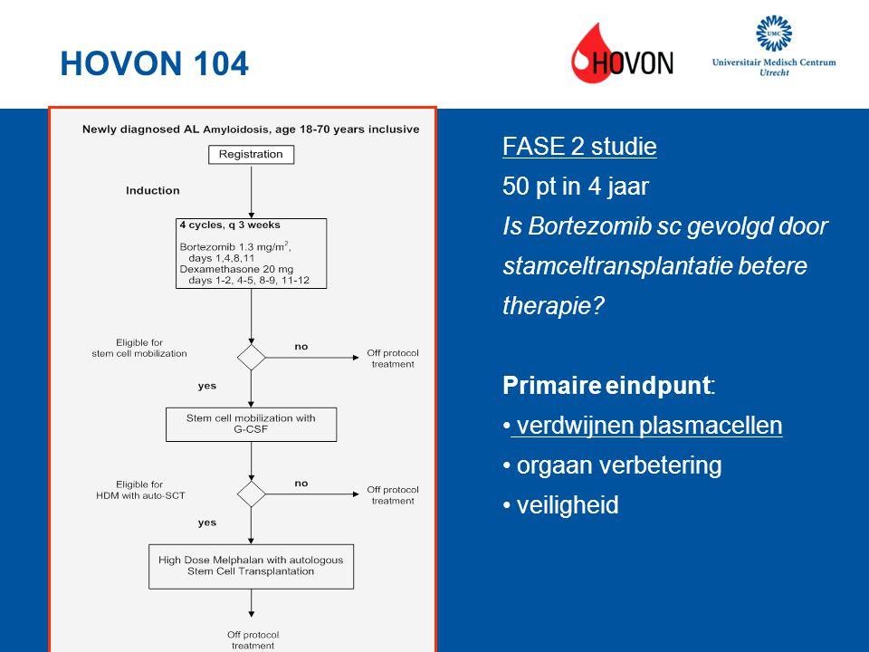 HOVON 104 FASE 2 studie 50 pt in 4 jaar Is Bortezomib sc gevolgd door stamceltransplantatie betere therapie? Primaire eindpunt: verdwijnen plasmacelle