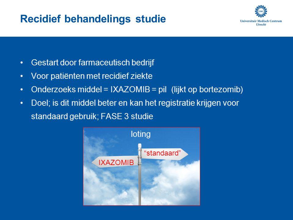 Recidief behandelings studie Gestart door farmaceutisch bedrijf Voor patiënten met recidief ziekte Onderzoeks middel = IXAZOMIB = pil (lijkt op bortez