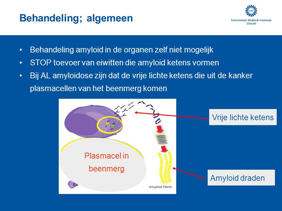 Behandeling De plasmacellen kunnen worden gedood met chemotherapie: Geen precursor eiwit = geen verdere aanmaak van amyloid Verbetering van de organen kan pas later (maanden-jaren) optreden in 30-50% van de patienten; lichaam ruimt amyloid zelf op ?