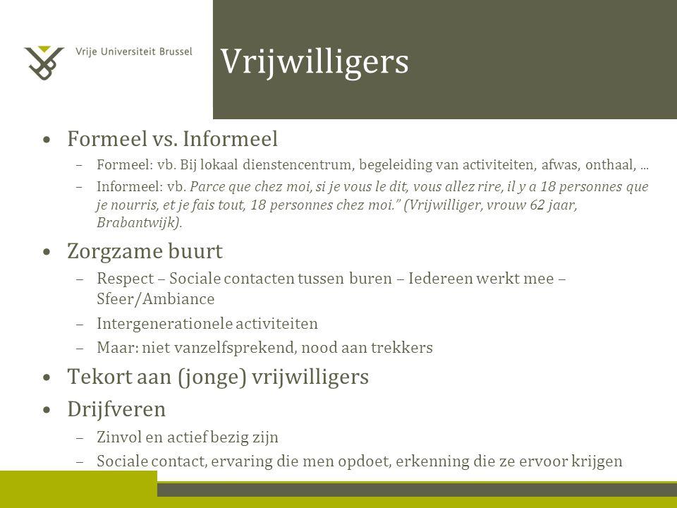 Vrijwilligers Formeel vs. Informeel –Formeel: vb.