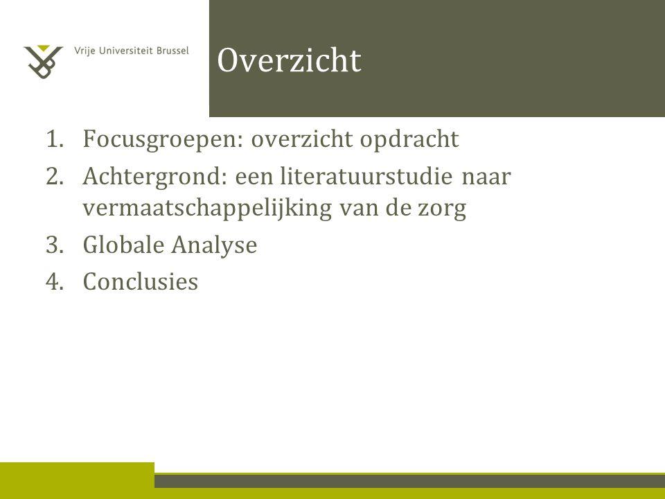 Overzicht 1.Focusgroepen: overzicht opdracht 2.Achtergrond: een literatuurstudie naar vermaatschappelijking van de zorg 3.Globale Analyse 4.Conclusies
