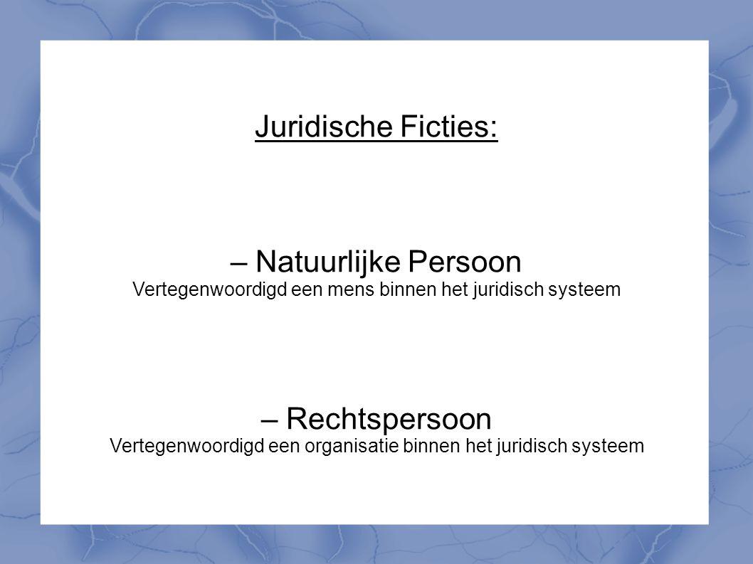 Juridische Ficties: – Natuurlijke Persoon Vertegenwoordigd een mens binnen het juridisch systeem – Rechtspersoon Vertegenwoordigd een organisatie binn