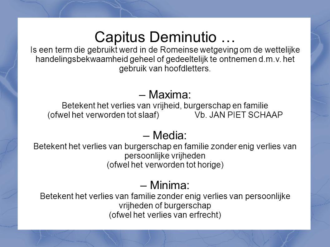 Capitus Deminutio … Is een term die gebruikt werd in de Romeinse wetgeving om de wettelijke handelingsbekwaamheid geheel of gedeeltelijk te ontnemen d