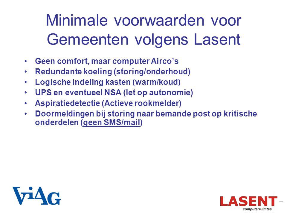 Minimale voorwaarden voor Gemeenten volgens Lasent Geen comfort, maar computer Airco's Redundante koeling (storing/onderhoud) Logische indeling kasten