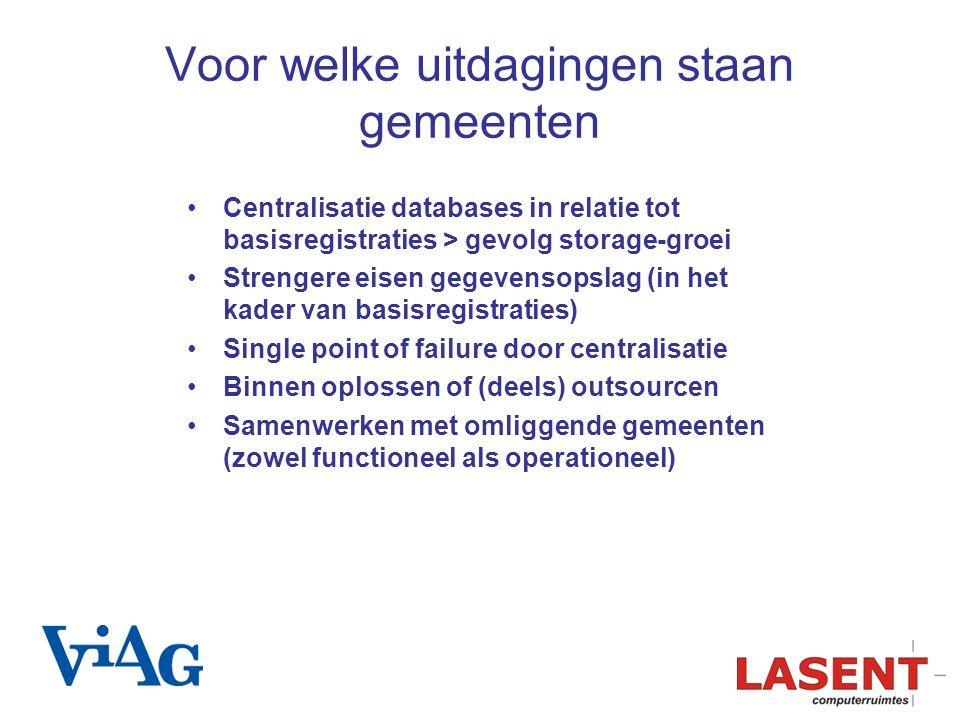Voor welke uitdagingen staan gemeenten Centralisatie databases in relatie tot basisregistraties > gevolg storage-groei Strengere eisen gegevensopslag