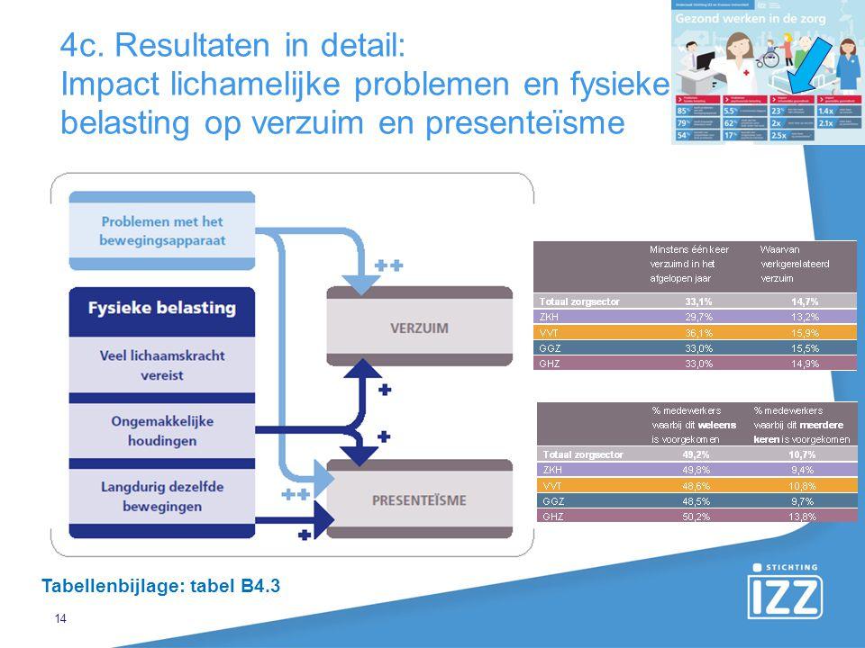 14 4c. Resultaten in detail: Impact lichamelijke problemen en fysieke belasting op verzuim en presenteïsme Tabellenbijlage: tabel B4.3