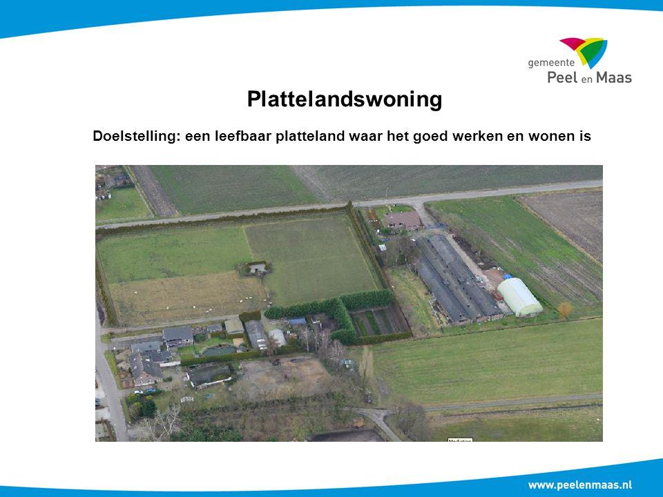 Plattelandswoning Doelstelling: een leefbaar platteland waar het goed werken en wonen is