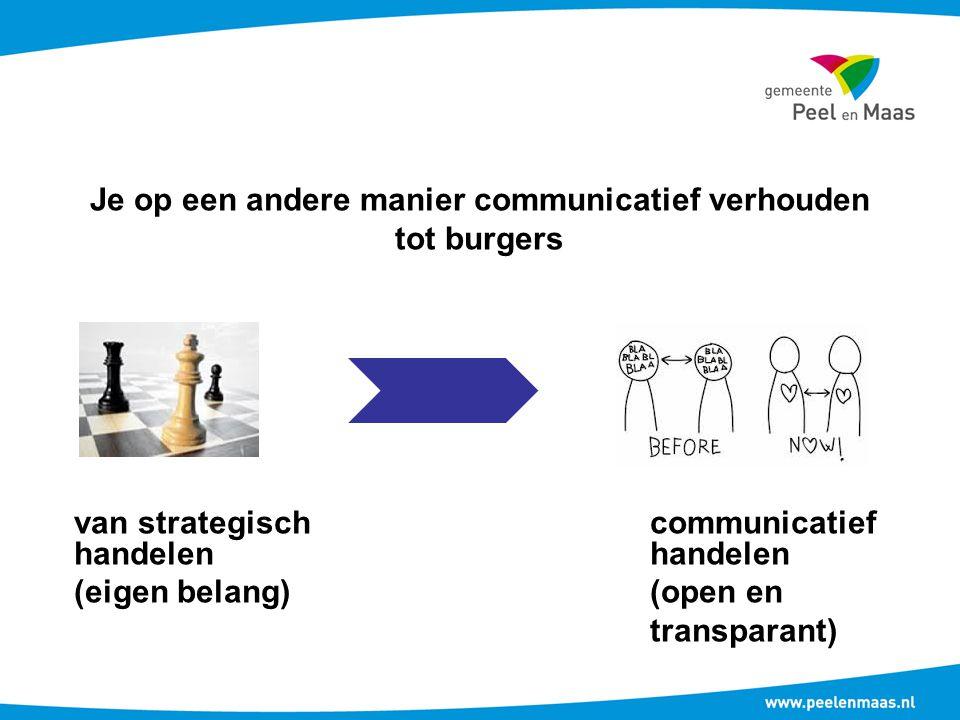 Je op een andere manier communicatief verhouden tot burgers van strategischcommunicatiefhandelen (eigen belang)(open en transparant)