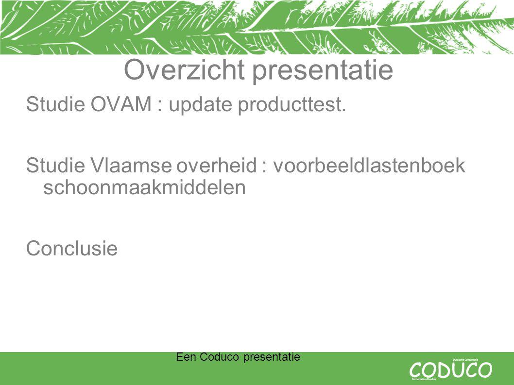 Een Coduco presentatie Overzicht presentatie Studie OVAM : update producttest.