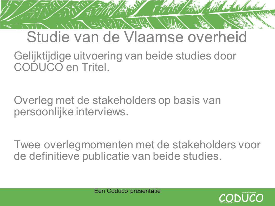 Een Coduco presentatie Studie van de Vlaamse overheid Gelijktijdige uitvoering van beide studies door CODUCO en Tritel.