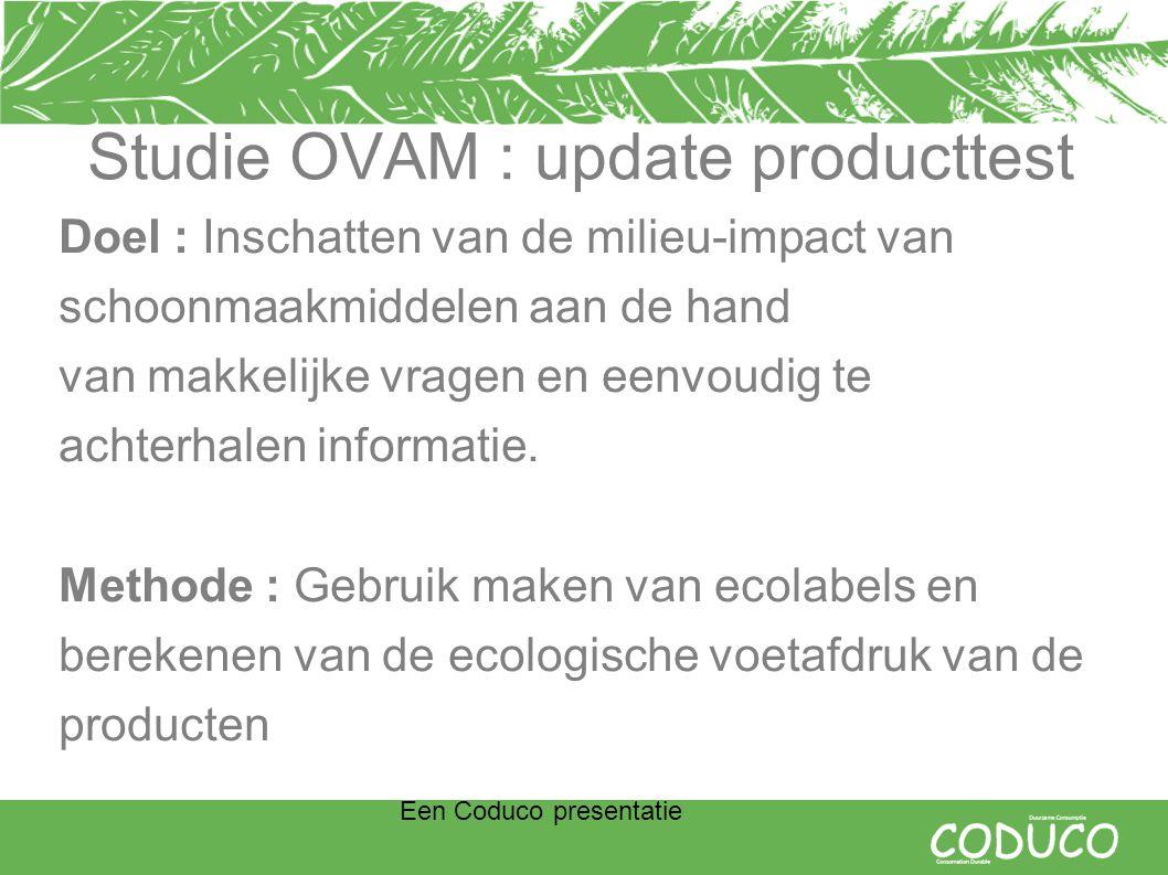 Een Coduco presentatie Studie OVAM : update producttest Doel : Inschatten van de milieu-impact van schoonmaakmiddelen aan de hand van makkelijke vragen en eenvoudig te achterhalen informatie.