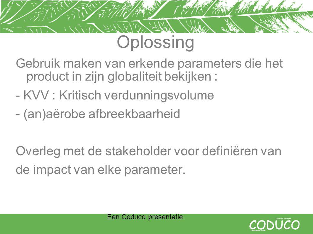 Een Coduco presentatie Oplossing Gebruik maken van erkende parameters die het product in zijn globaliteit bekijken : - KVV : Kritisch verdunningsvolume - (an)aërobe afbreekbaarheid Overleg met de stakeholder voor definiëren van de impact van elke parameter.