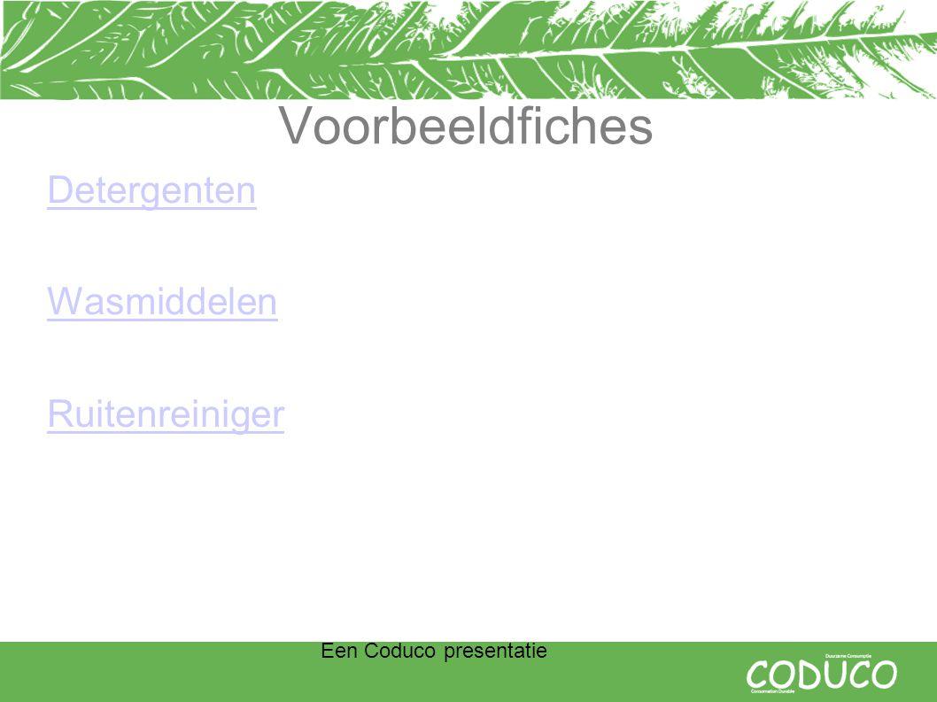 Een Coduco presentatie Voorbeeldfiches Detergenten Wasmiddelen Ruitenreiniger