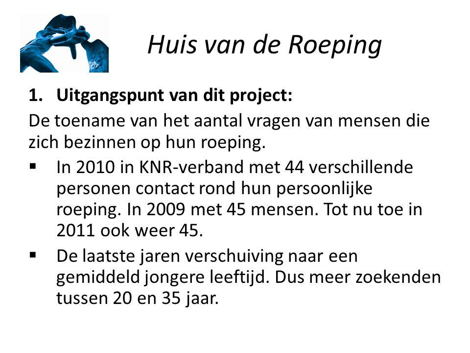 Huis van de Roeping 1.Uitgangspunt van dit project: De toename van het aantal vragen van mensen die zich bezinnen op hun roeping.