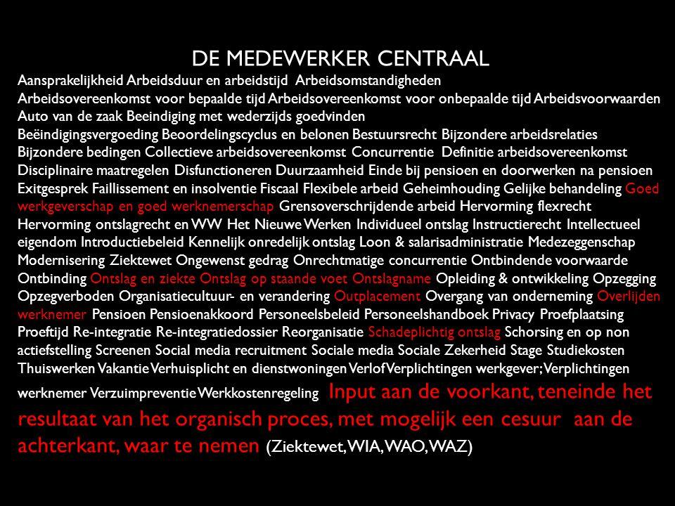 DE MEDEWERKER CENTRAAL Aansprakelijkheid Arbeidsduur en arbeidstijd Arbeidsomstandigheden Arbeidsovereenkomst voor bepaalde tijd Arbeidsovereenkomst v