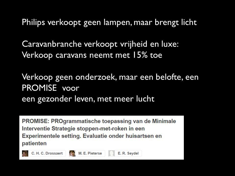 Philips verkoopt geen lampen, maar brengt licht Caravanbranche verkoopt vrijheid en luxe: Verkoop caravans neemt met 15% toe Verkoop geen onderzoek, maar een belofte, een PROMISE voor een gezonder leven, met meer lucht