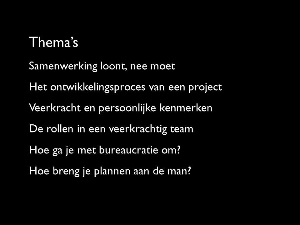 Thema's Samenwerking loont, nee moet Het ontwikkelingsproces van een project Veerkracht en persoonlijke kenmerken De rollen in een veerkrachtig team Hoe ga je met bureaucratie om.