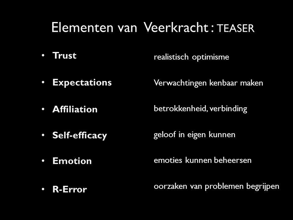 VEERKRACHT EN PIJLERS VOOR PARTNERSHIPS Trust Expectation Affiliation Emotion Self-efficacy R-Error Emotion MOTIVATIE = WILLEN CAPACITEIT = KUNNEN