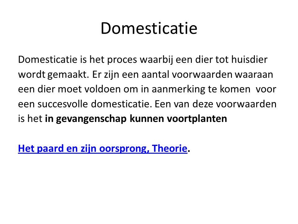 Domesticatie Domesticatie is het proces waarbij een dier tot huisdier wordt gemaakt. Er zijn een aantal voorwaarden waaraan een dier moet voldoen om i