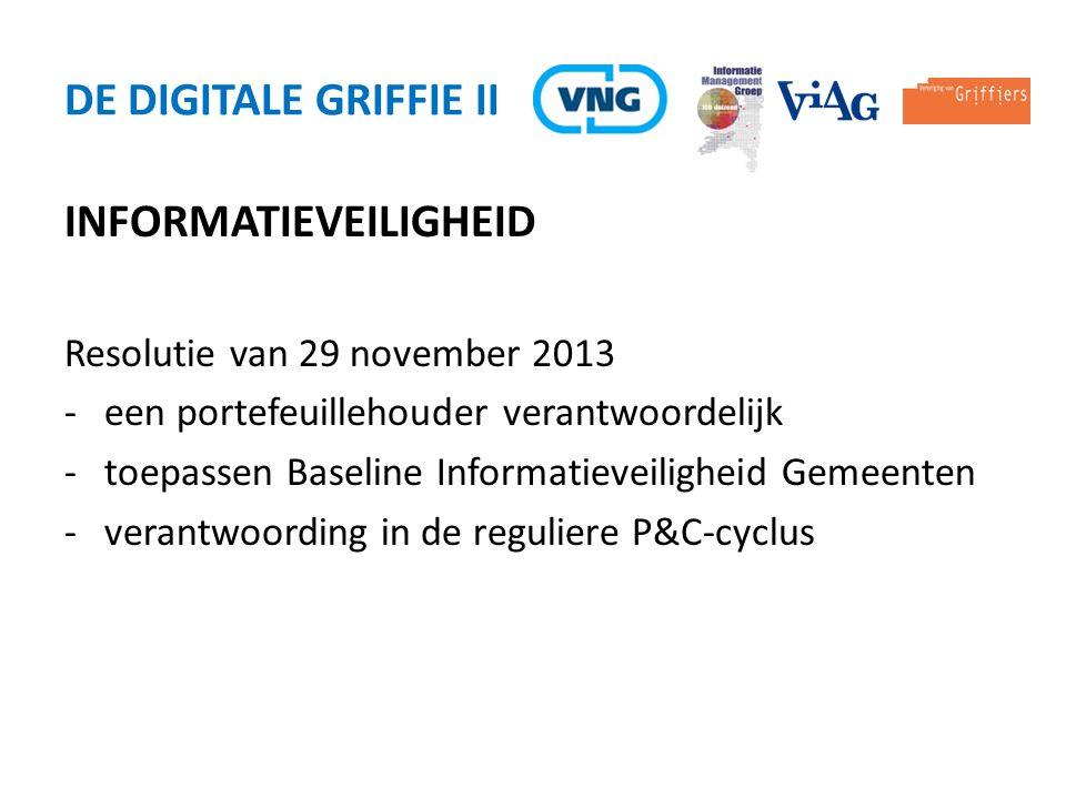 INFORMATIEVEILIGHEID Resolutie van 29 november 2013 -een portefeuillehouder verantwoordelijk -toepassen Baseline Informatieveiligheid Gemeenten -veran