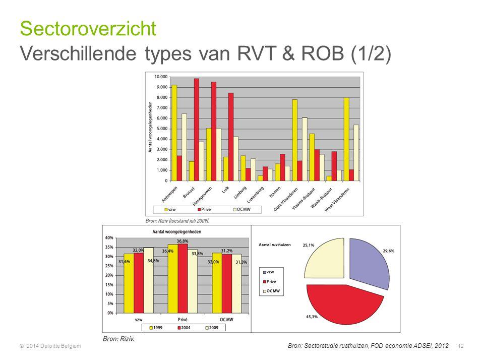 © 2014 Deloitte Belgium12 Bron: Sectorstudie rusthuizen, FOD economie ADSEI, 2012 Verschillende types van RVT & ROB (1/2) Sectoroverzicht