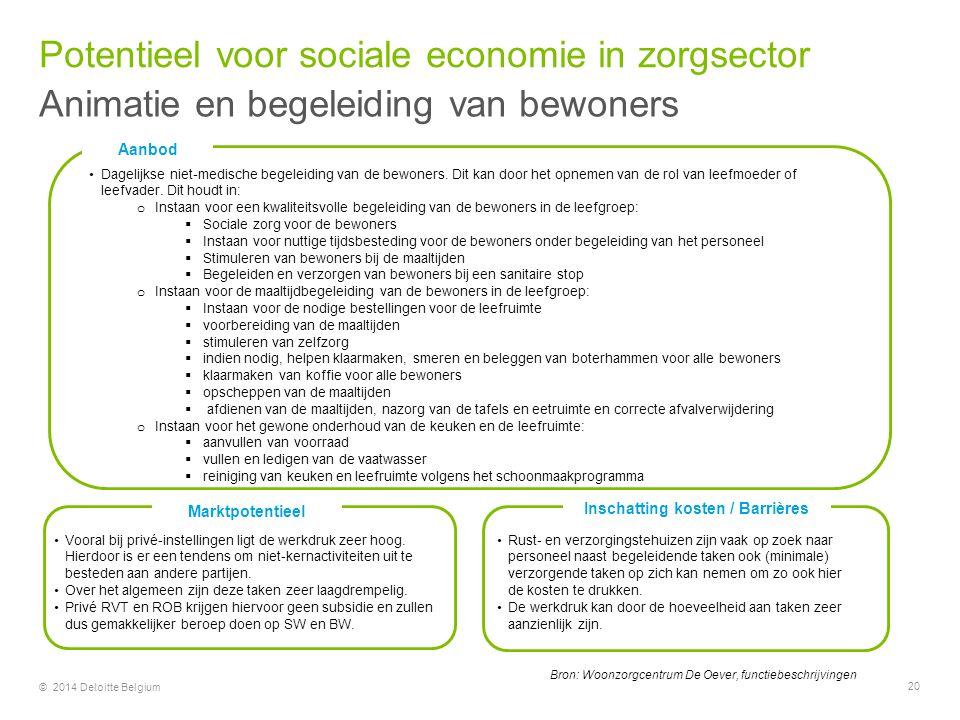 © 2014 Deloitte Belgium Bron: Woonzorgcentrum De Oever, functiebeschrijvingen Aanbod Dagelijkse niet-medische begeleiding van de bewoners. Dit kan doo