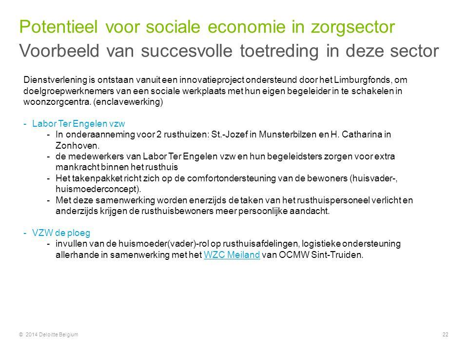 © 2014 Deloitte Belgium22 Dienstverlening is ontstaan vanuit een innovatieproject ondersteund door het Limburgfonds, om doelgroepwerknemers van een so