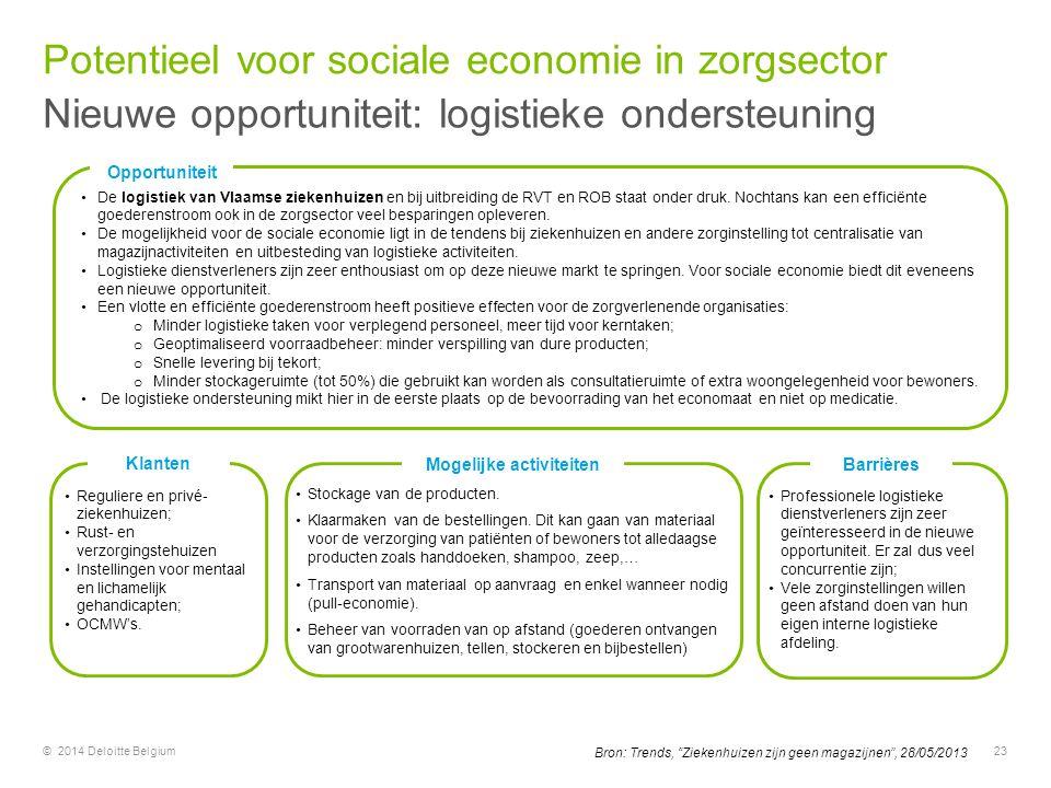 © 2014 Deloitte Belgium23 Opportuniteit De logistiek van Vlaamse ziekenhuizen en bij uitbreiding de RVT en ROB staat onder druk. Nochtans kan een effi
