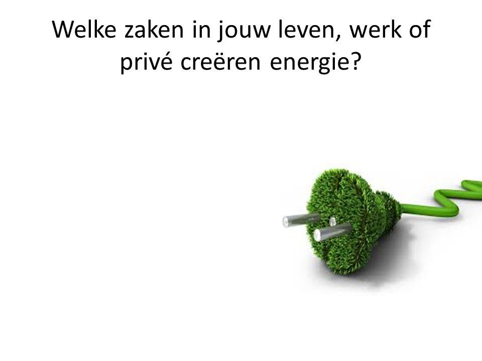 Welke zaken in jouw leven, werk of privé creëren energie?