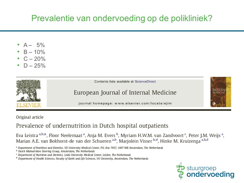 Prevalentie van ondervoeding op de polikliniek? A – 5% B – 10% C – 20% D – 25%