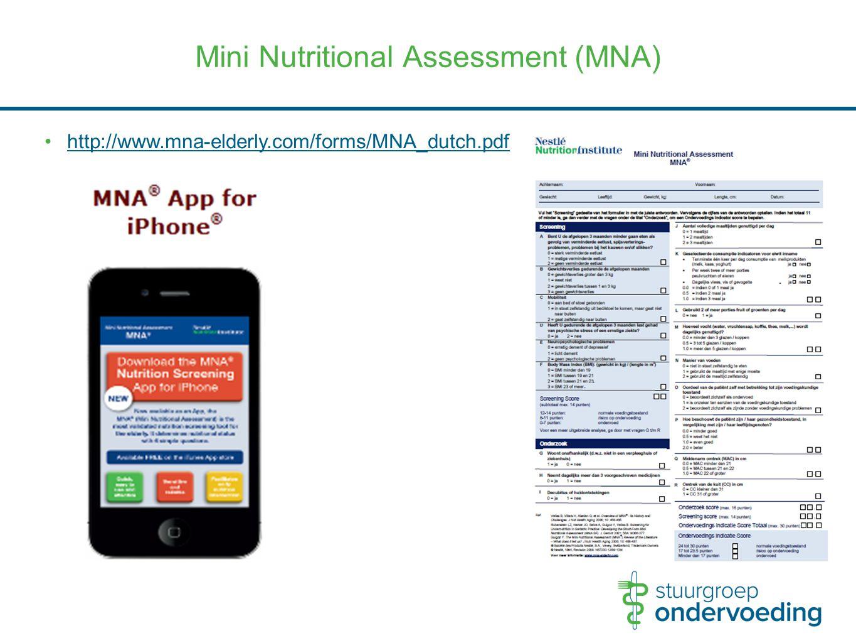 Mini Nutritional Assessment (MNA) http://www.mna-elderly.com/forms/MNA_dutch.pdf