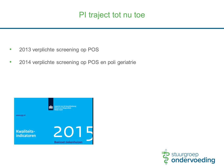 PI traject tot nu toe 2013 verplichte screening op POS 2014 verplichte screening op POS en poli geriatrie