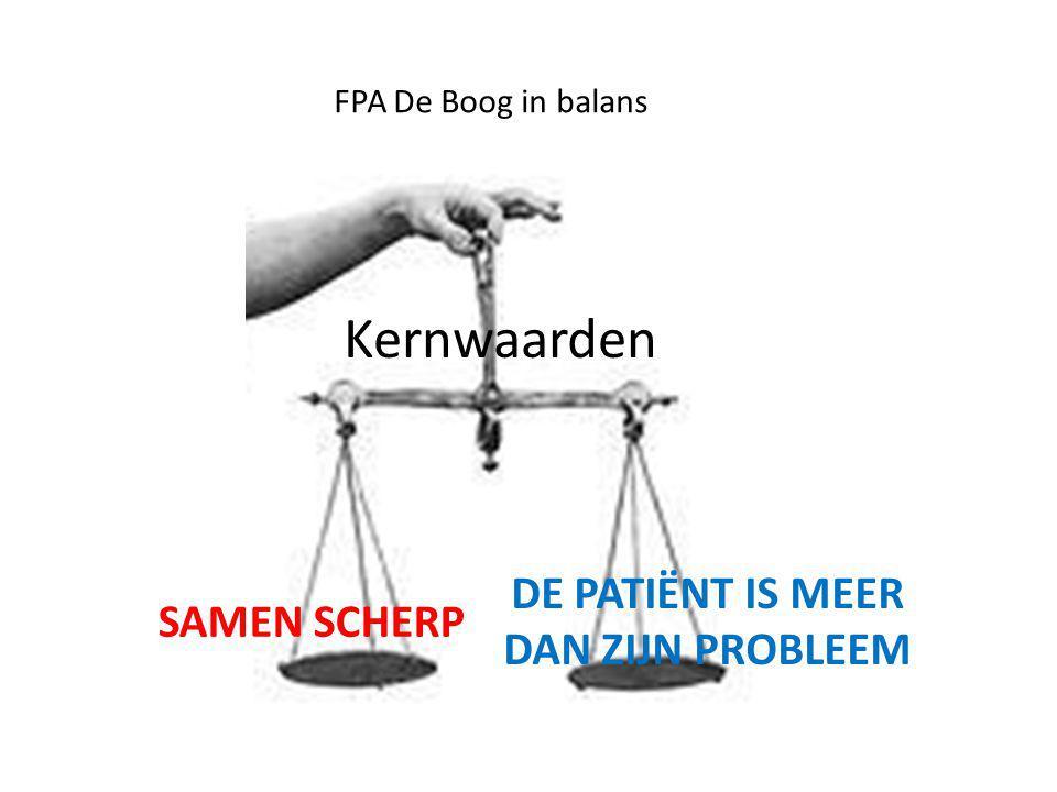 FPA De Boog in balans Kernwaarden SAMEN SCHERP DE PATIËNT IS MEER DAN ZIJN PROBLEEM