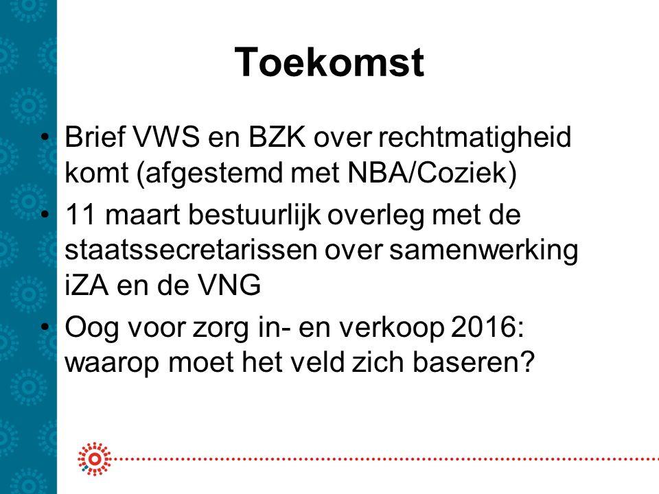 Toekomst Brief VWS en BZK over rechtmatigheid komt (afgestemd met NBA/Coziek) 11 maart bestuurlijk overleg met de staatssecretarissen over samenwerking iZA en de VNG Oog voor zorg in- en verkoop 2016: waarop moet het veld zich baseren?