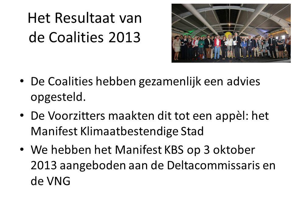 Het Resultaat van de Coalities 2013 De Coalities hebben gezamenlijk een advies opgesteld.