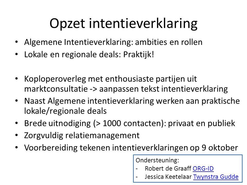 Opzet intentieverklaring Algemene Intentieverklaring: ambities en rollen Lokale en regionale deals: Praktijk.