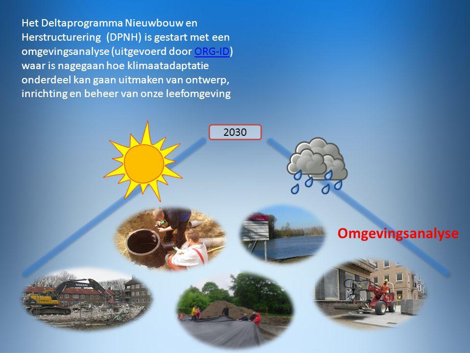 2030 Omgevingsanalyse Het Deltaprogramma Nieuwbouw en Herstructurering (DPNH) is gestart met een omgevingsanalyse (uitgevoerd door ORG-ID) waar is nagegaan hoe klimaatadaptatie onderdeel kan gaan uitmaken van ontwerp, inrichting en beheer van onze leefomgevingORG-ID