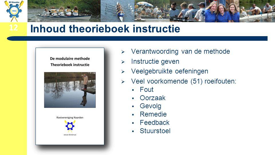 12 Inhoud theorieboek instructie  Verantwoording van de methode  Instructie geven  Veelgebruikte oefeningen  Veel voorkomende (51) roeifouten:  F
