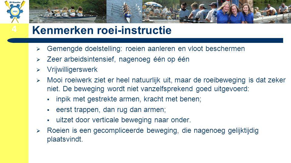4 Kenmerken roei-instructie  Gemengde doelstelling: roeien aanleren en vloot beschermen  Zeer arbeidsintensief, nagenoeg één op één  Vrijwilligersw