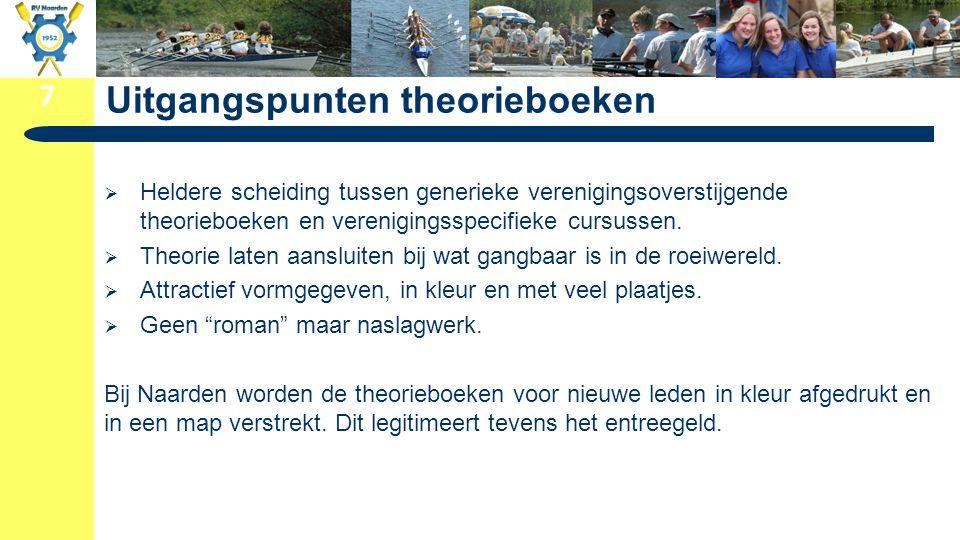 7 Uitgangspunten theorieboeken  Heldere scheiding tussen generieke verenigingsoverstijgende theorieboeken en verenigingsspecifieke cursussen.  Theor
